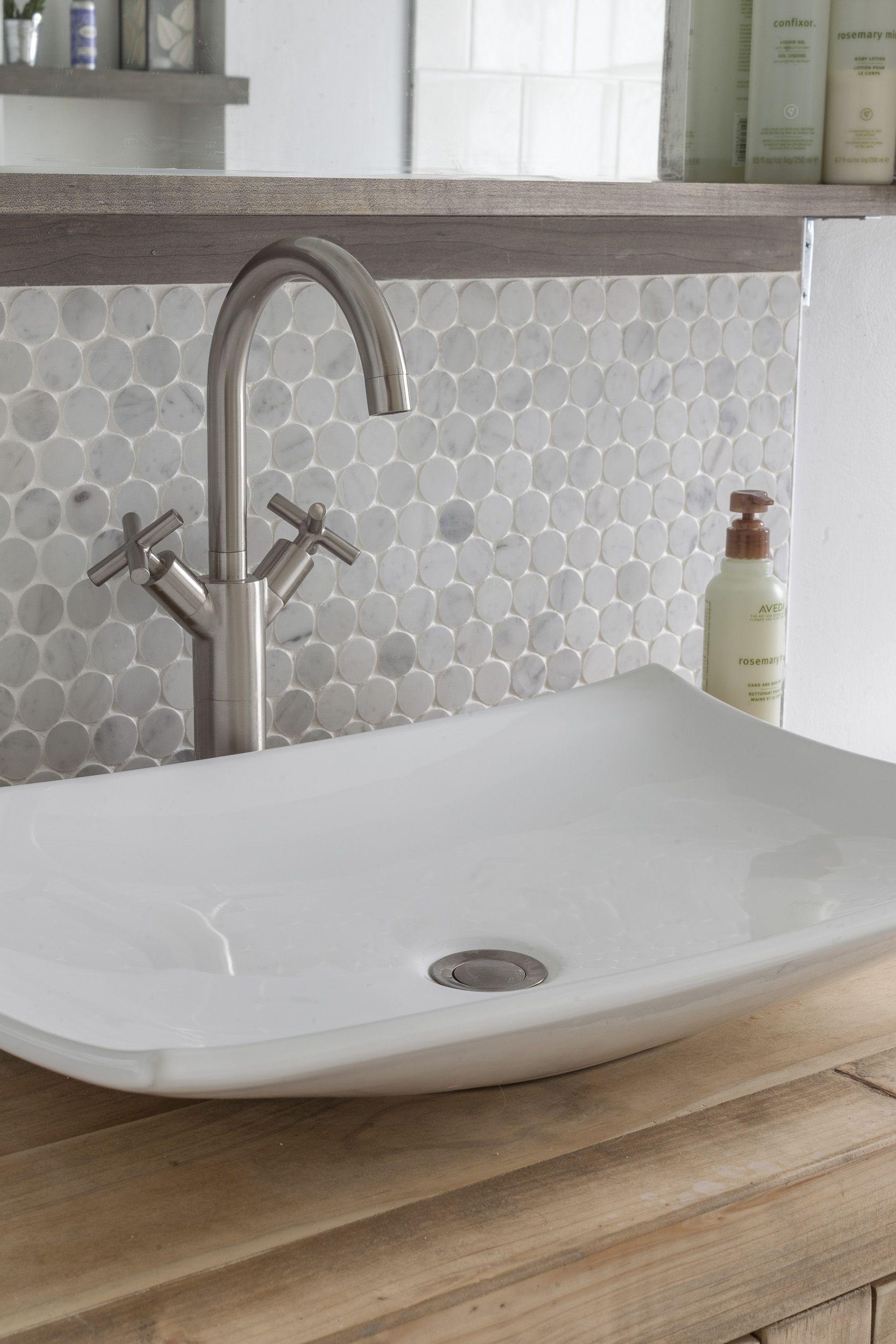 Vessel Sink Marble Penny Tile Backsplash Tile Backsplash Bathroom Vanity Tile Backsplash Bathroom Penny Tiles Bathroom