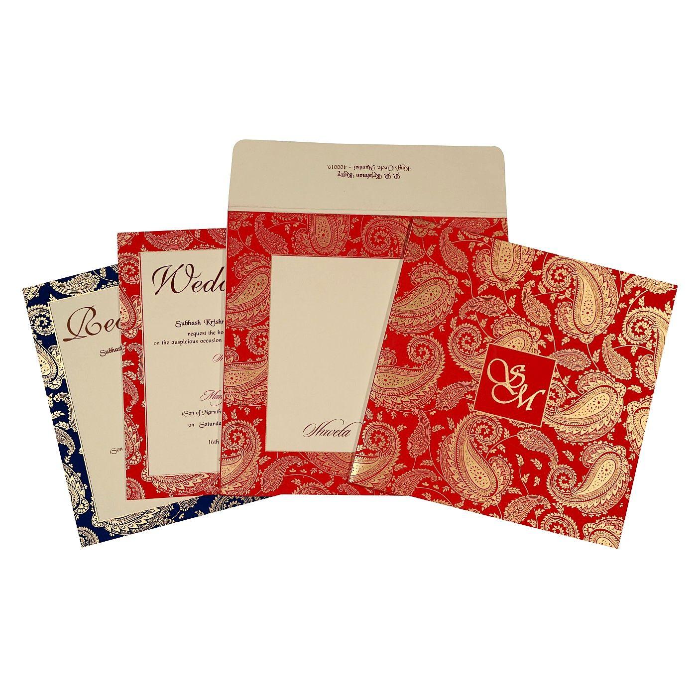 Ivory matte paisley themed - screen printed wedding invitation : d ...