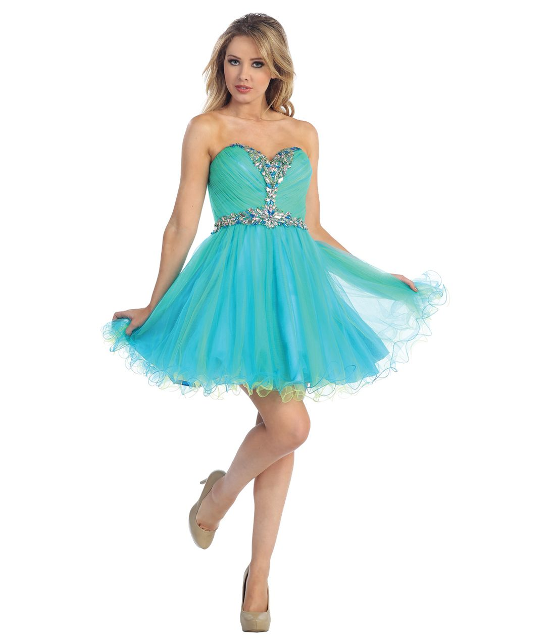2013 Prom Dresses - Turquoise & Neon Green Chiffon Sweetheart ...