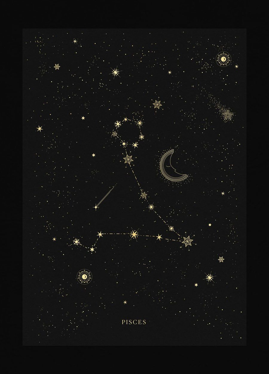 3b97eecba Pisces zodiac constellation gold metallic foil print on black paper by  Cocorrina