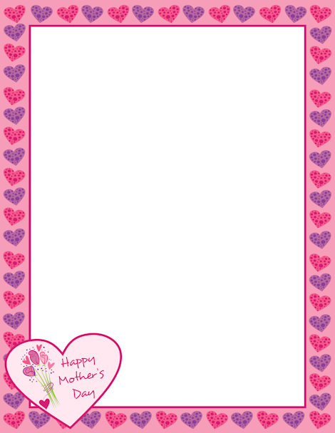 Mother\'s Day page border with hearts and flowers. Free downloads at ...