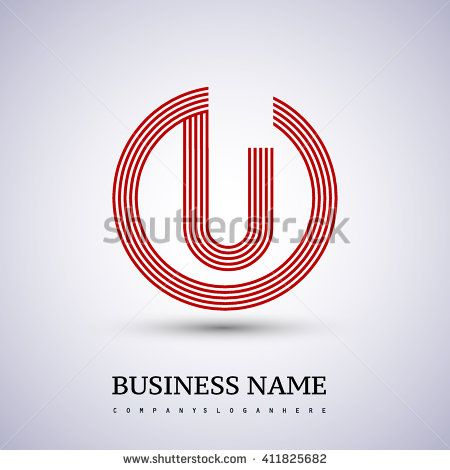 U or UO company linked letter logo in a circle. red colored. Vector ...