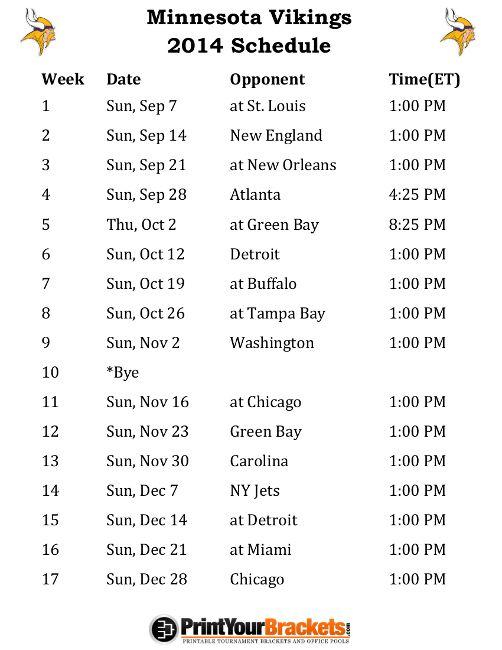 image relating to Minnesota Vikings Printable Schedule named Printable Minnesota Vikings Timetable - 2014 Soccer Period