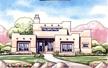 Southwestern Style Cool House Plan Id Chp 53701 Order Code C101 House Plans Adobe House Exclusive House Plan
