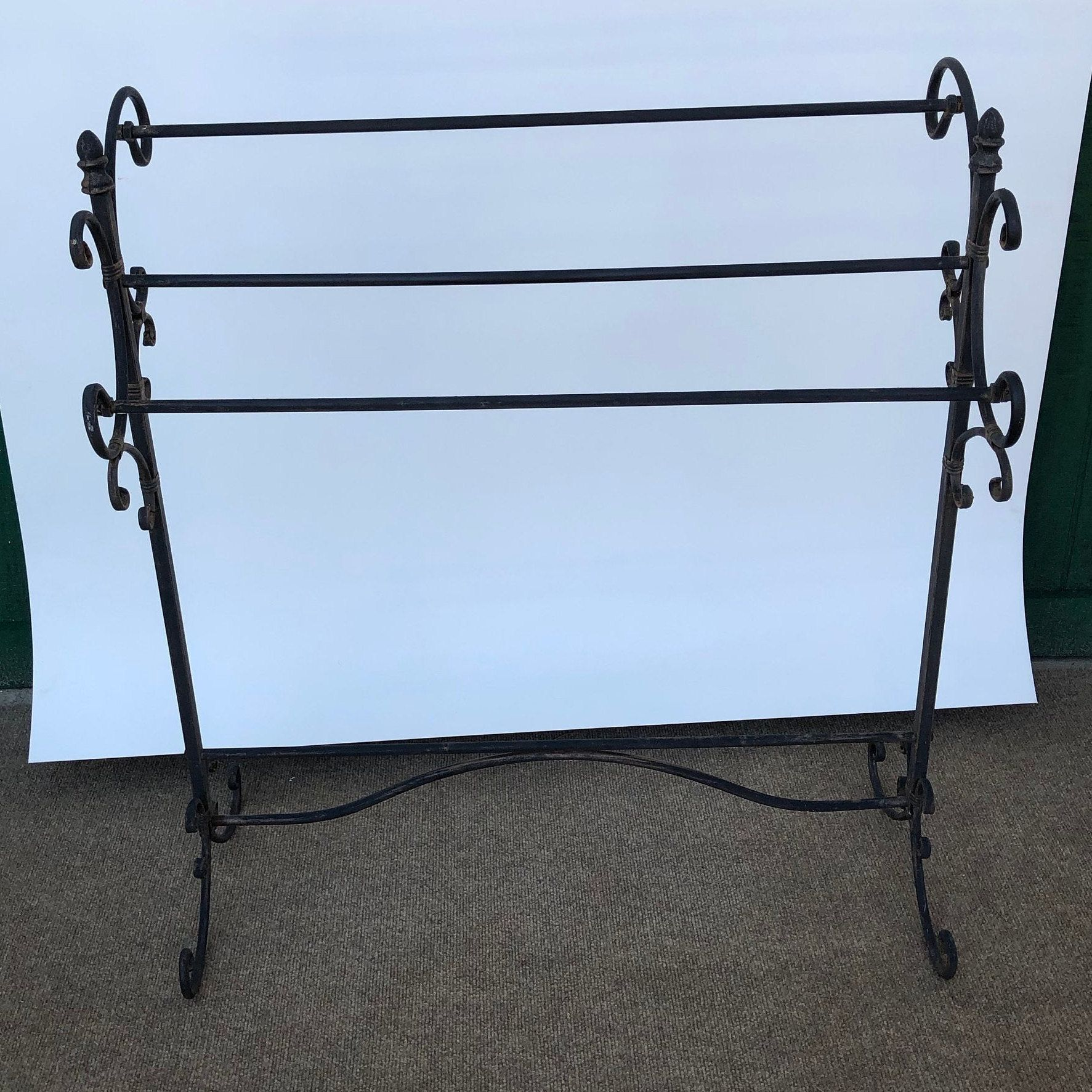 Vintage Metal Quilt Rack Blanket Hanger Wrought Iron Rack