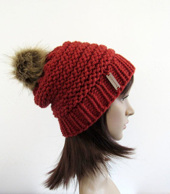 3371afc028a Redwood Knit Beehive Hat with Faux Fur Pom Pom