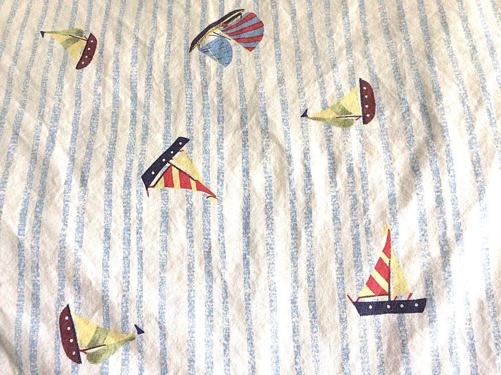 Pottery Barn Kids Flat Twin Sheet Light Blue Stripes And