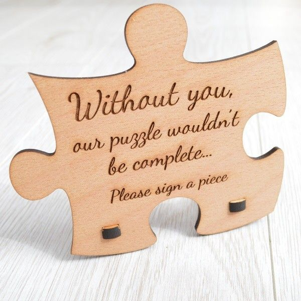 Personalised Wooden Wedding Jigsaw Puzzle Piece Guestbook