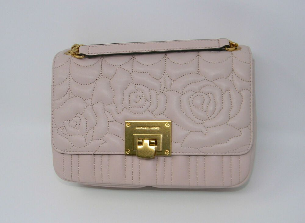 15abc5f987f31e New Michael Kors Vivianne Ballet Pink Floral Quilted Leather Shoulder Flap  Purse