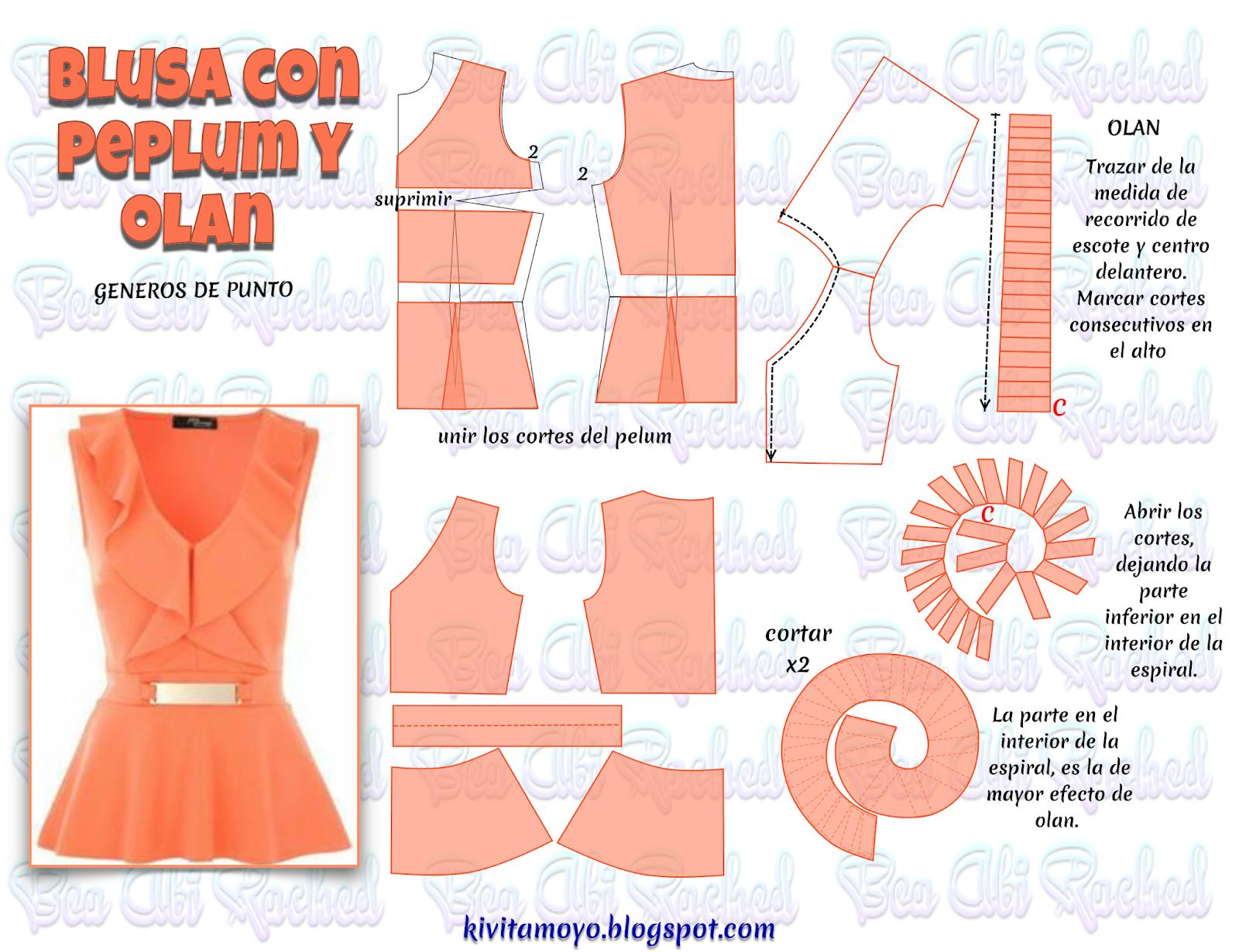 KiVita MoYo : BLUSA CON PEPLUM Y OLAN | Шиття | Pinterest | Costura ...