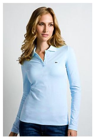 f472a53d0 polo ralph lauren outlet Lacoste Women's Long Sleeve 2 Button Stretch Pique  Polo Shirt Maya Blue