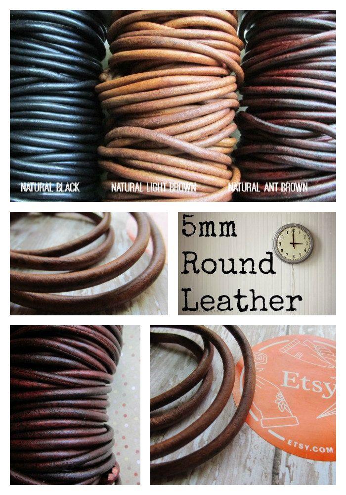 Natural Dye Dark Brown Round Leather Cord 4mm x 5m BEST VALUE!