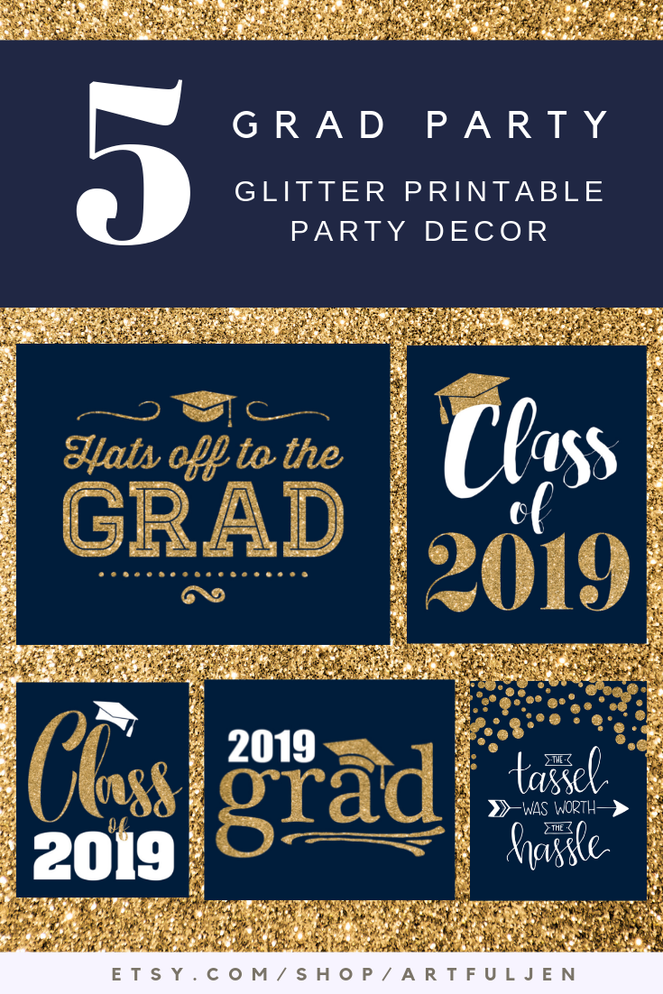 Instant Download Printable Grad Party Decorations| Navy Blue & Gold