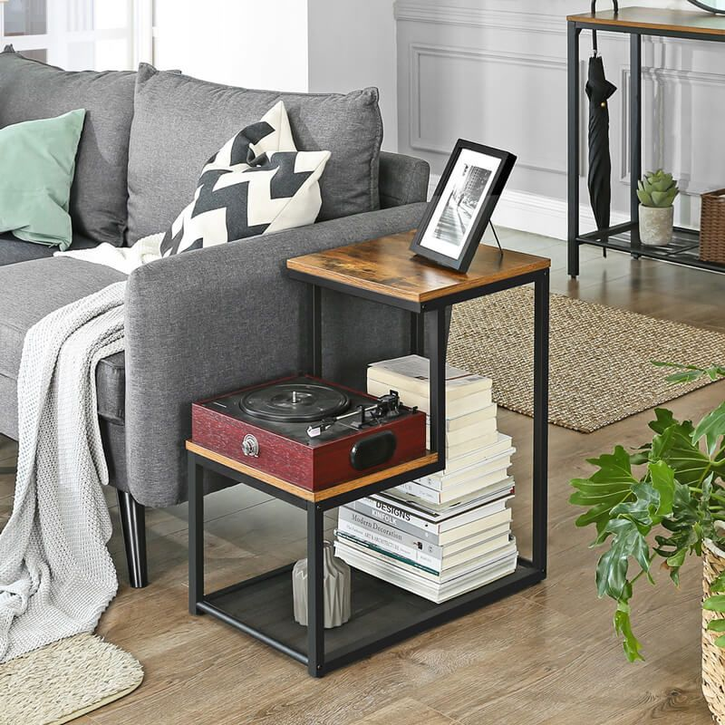2 Tier Wooden And Metal Frame Side Table With Industrial Design Vasagle Living Room Side Table Table Decor Living Room Side Table Decor