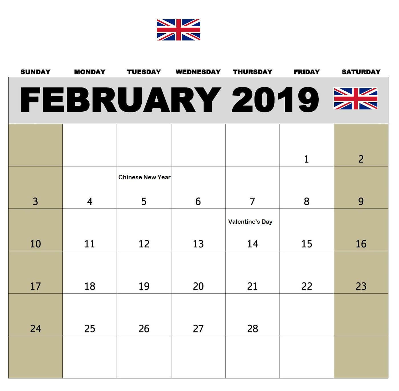 Chinese Calendar February 2019 February 2019 Calendar With UK Holidays | 125+ February 2019