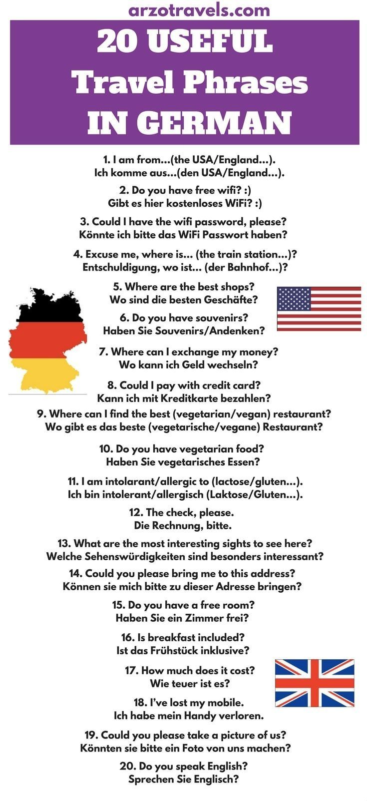 20 Most Useful Travel Phrases In German From English To Germany For Your Next Trip English Germ Travel Phrases German Phrases German Language Learning