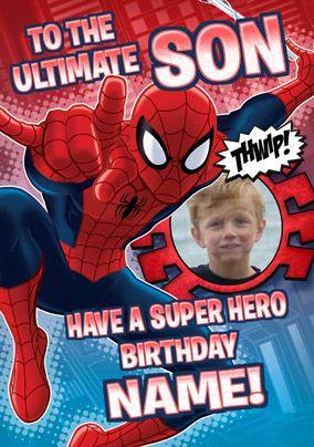 Ultimate spider man son photo birthday card spider man cards ultimate spider man son photo birthday card bookmarktalkfo Gallery