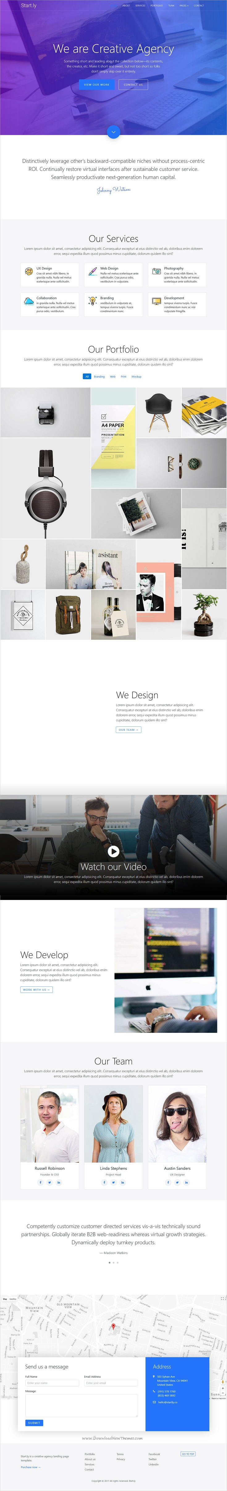 Parallax Website Template Startly — Agency One Page Parallax Website Template  Startups
