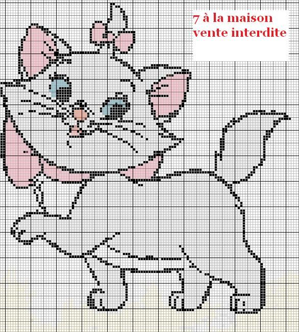 grille gratuite  Marie des aristochats Cross stitch, Stitch and