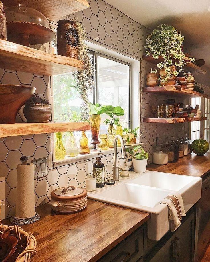 24 classy bohemian style kitchen design ideas in 2020 farmhouse kitchen remodel kitchen on boho chic kitchen table id=16516