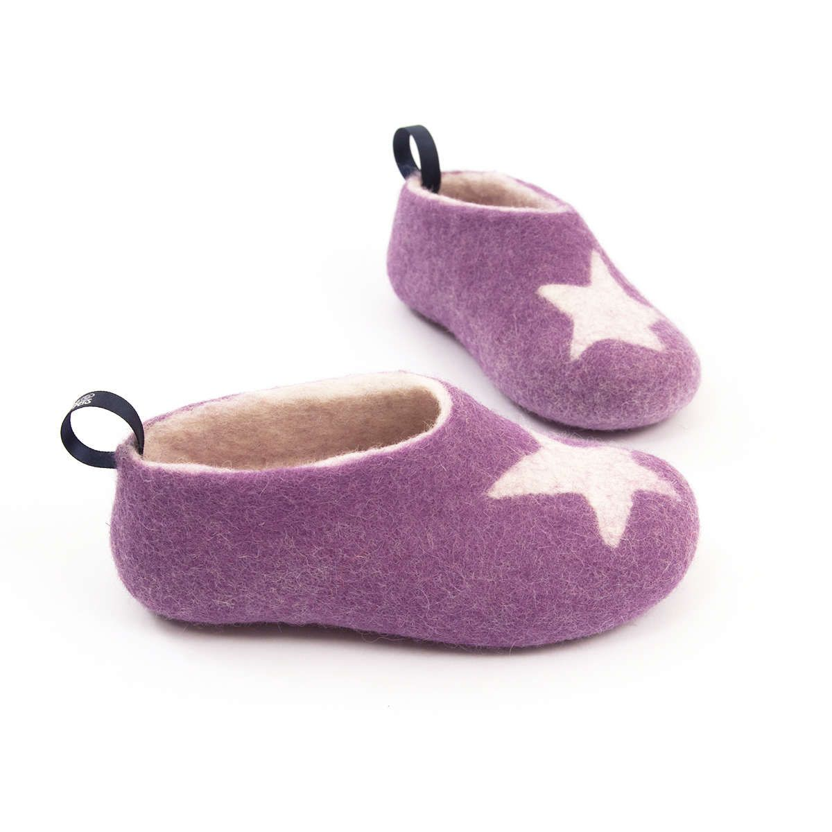 Wooppers felted woolen slippers for Kids STAR lilac by Wooppers