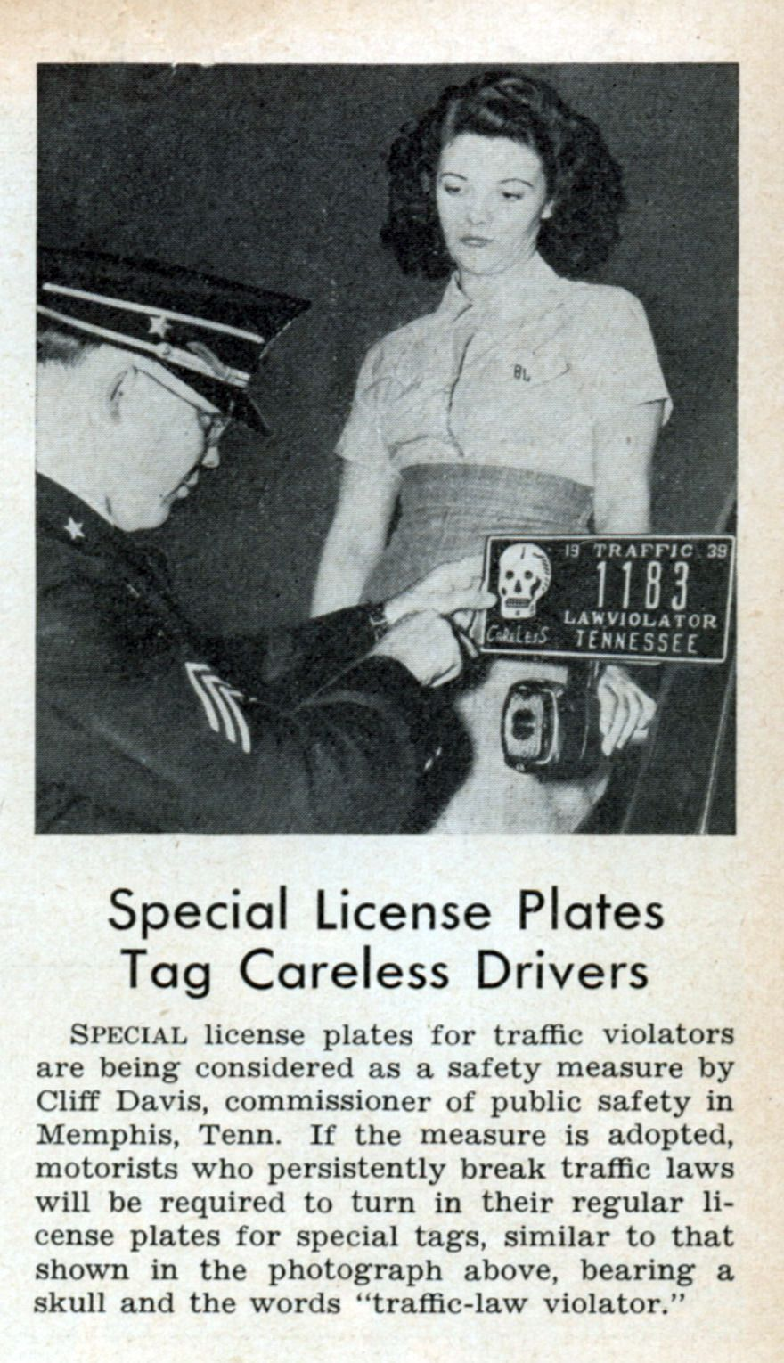 Mar, 1939) - Special license plates for traffic violators are ...