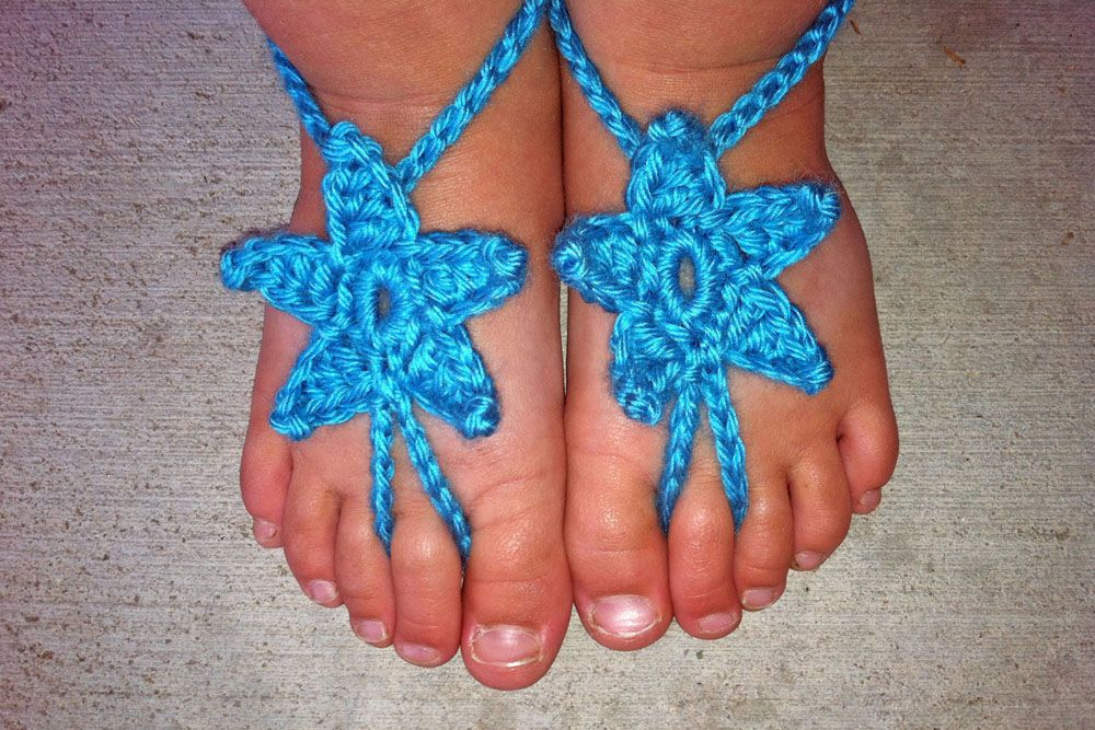 Baby Stars Barefoot Sandals - and a #freecrochetpattern | Barfuß ...