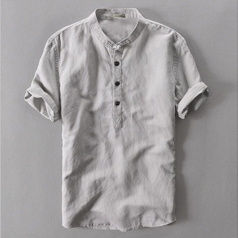 2c956e7322 ... Men s Shirts by Anna Welch. Grey Navy White Flax Summer Loose Male  Casual Linen Shirt Men Short Sleeve Traditional Chinese Mandarin