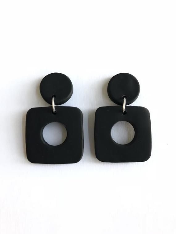 Hand Painted Ceramic Earrings Porcelain Circle Earrings Monochrome Earrings Gifts Black Splatter Earrings Geometric Dangle Earrings