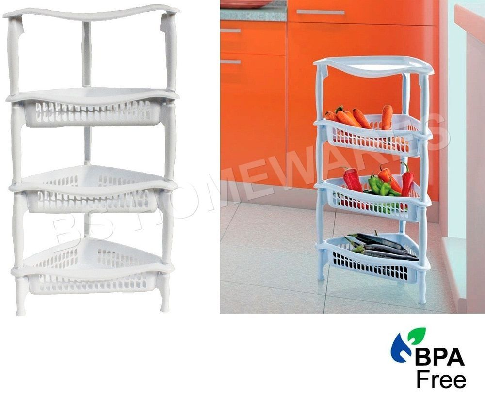 4tier Plastic Kitchen Storage Rack Fruit Vegetable Basket Corner Shelves Trolley Kitchen Storage Rack Kitchen Storage Storage Rack