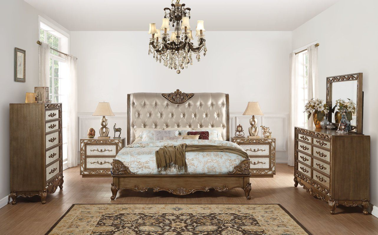 Linzy Upholstered Bed  Mirrored bedroom furniture, White bedroom