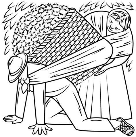 Cargador de Flores, De Diego Rivera Dibujo para colorear   PINTORES ...