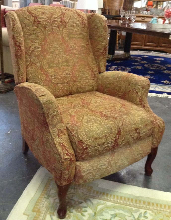 wingback chair red paisley wingback recliner chair
