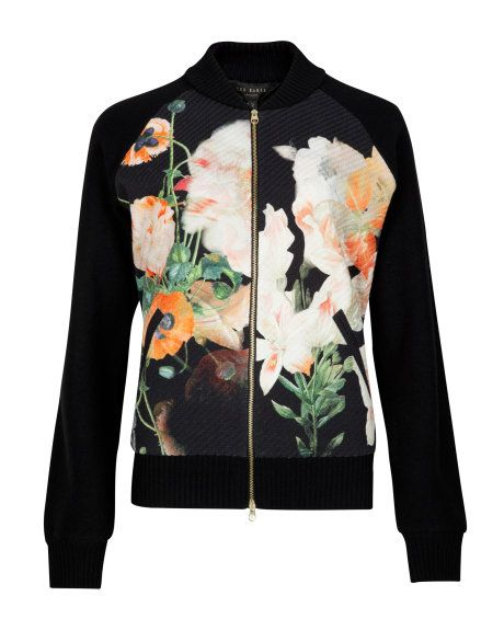 LYNDSY | OPULENT BLOOM BOMBER JACKET - Black | Knitwear | Ted Baker UK
