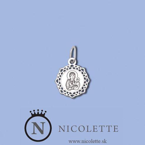 Vhodný darček pre veriaceho človeka, alebo matku s dieťaťom. Zobrazuje Pannu Máriu s malým Ježiskom.  Ide o kvalitný strieborný 40 gramový prívesok, ktorým určite urobíte radosť.