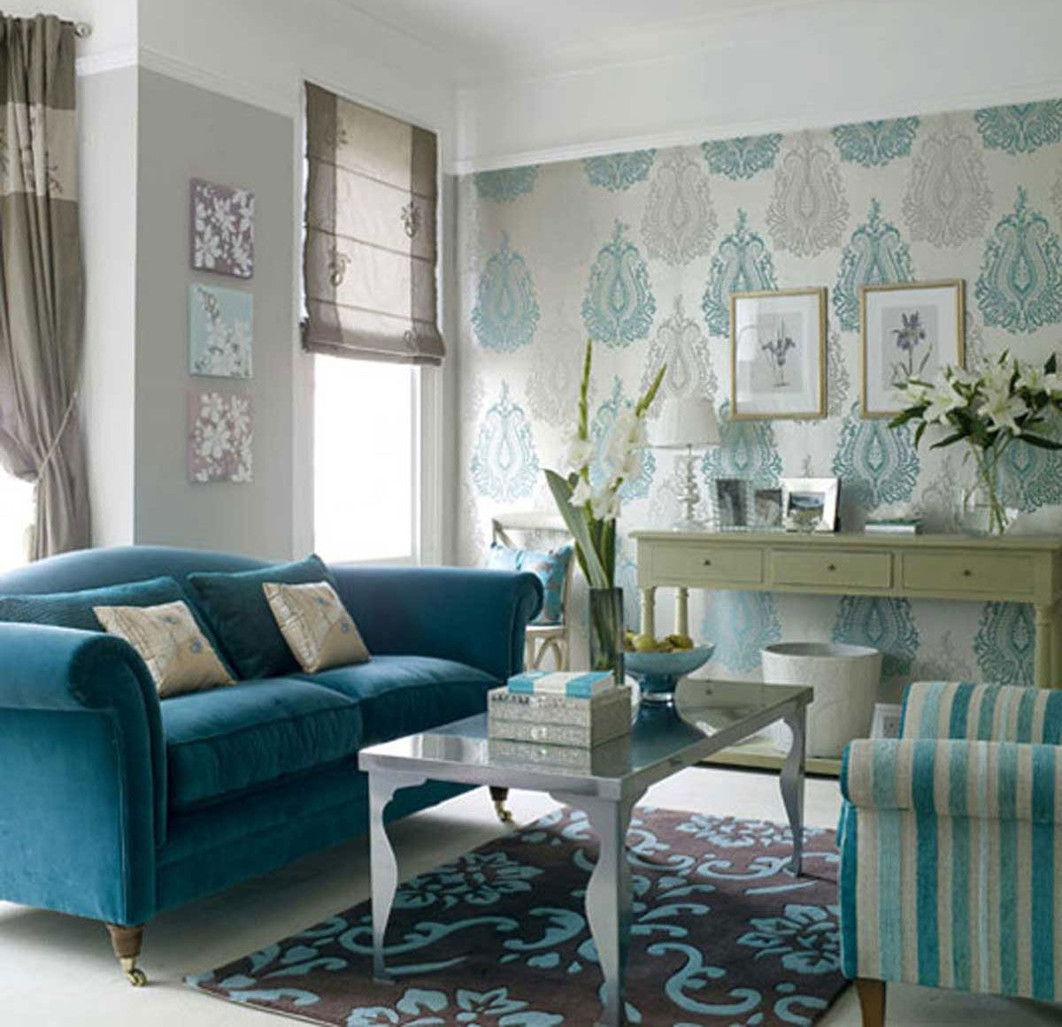 Turquoise sofa contemporary living room katie rosenfeld design - Interiors