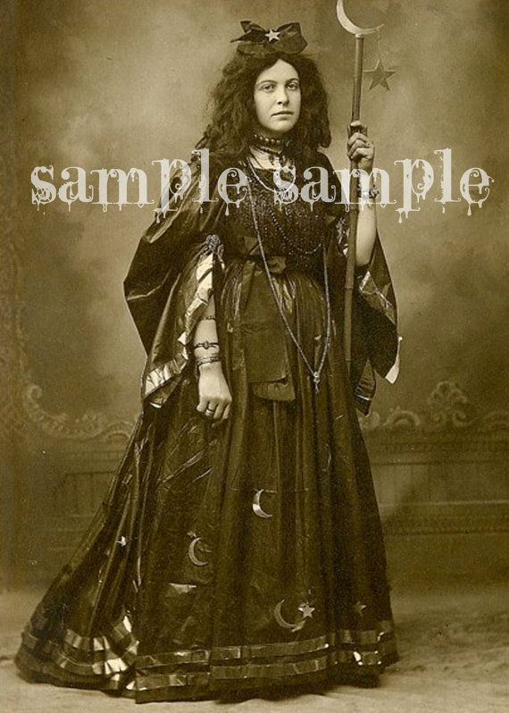 Instant DIGITAL DOWNLOAD VINTAGE Gypsy Witch photograph Wiccan Halloween Princess Digital Paper collage sheet Gothic Ghost Girl