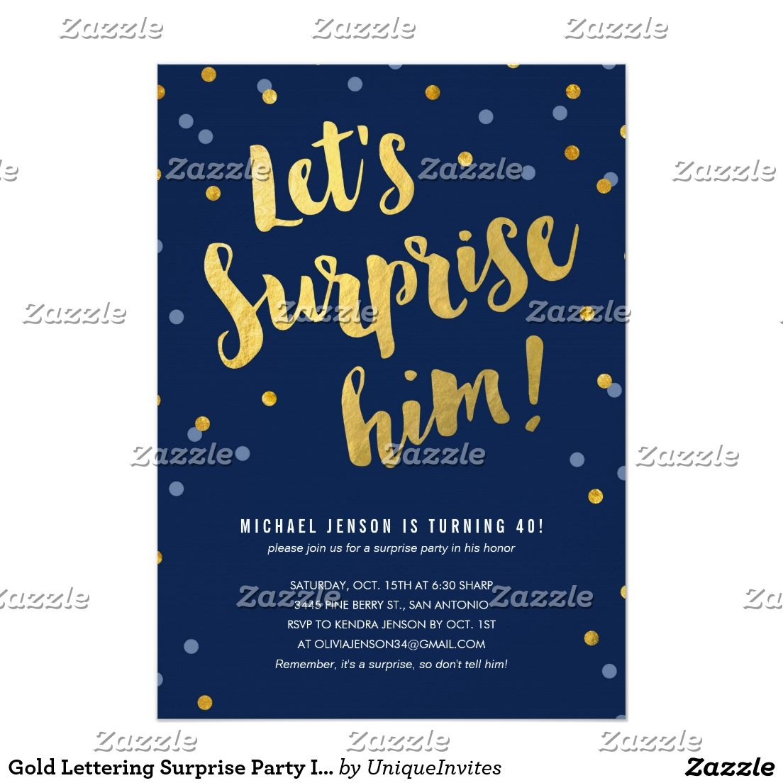 Gold Lettering Surprise Party Invitations for Him | 50th Birthday ...