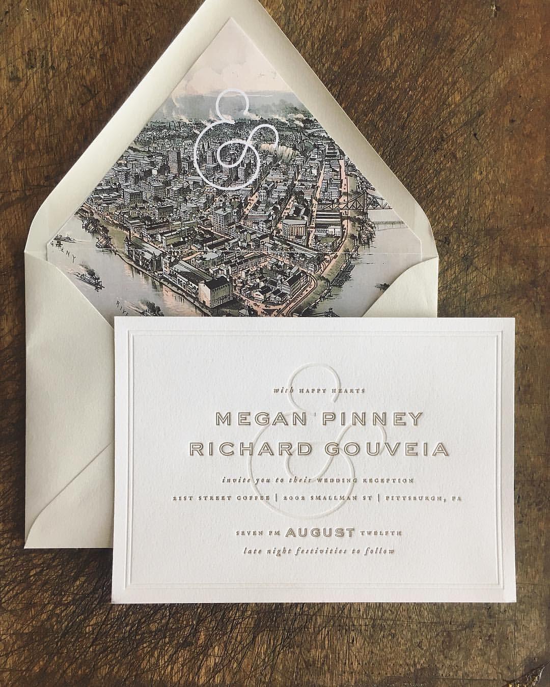 Modern Letterpress wedding invitation with a vintage map envelope ...
