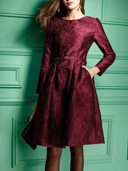 Shop Midi Dresses - Burgundy Floral A-line Nylon Long Sleeve Party Dress online. Discover unique designers fashion at StyleWe.com.