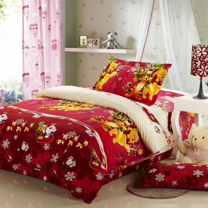 Winnie The Pooh Bedroom Red Celebrate Christmas Gift Bedding