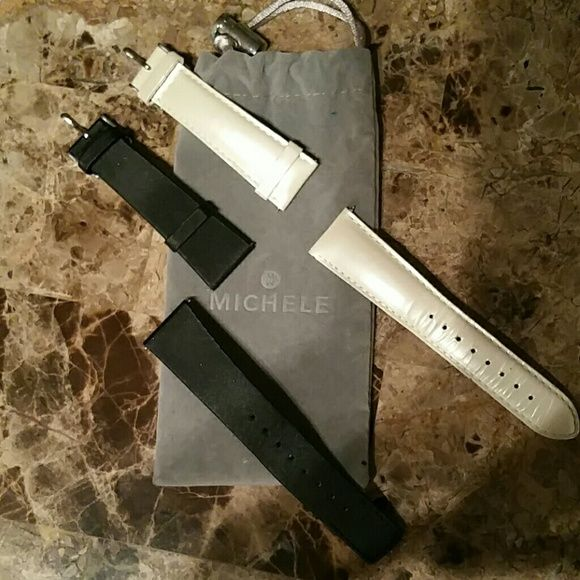 Michele XL deco 20mm White SOLD Black satin 20mm michele watch bands.  $30 each. Michele Accessories
