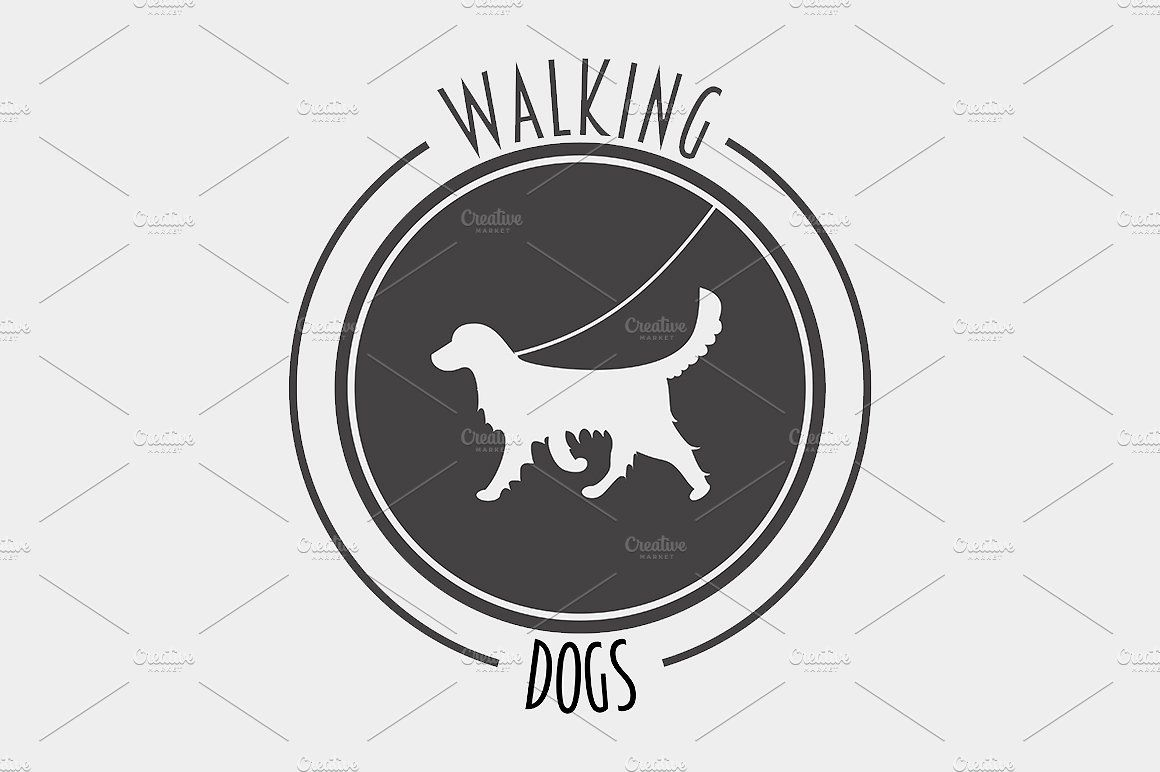 Walking Dog Symbol Label Logo Symbol Walking Walker Logo Dog