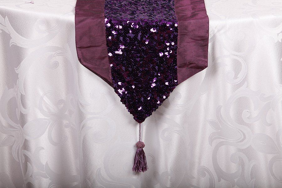 Captivating Plum   Sequin Table Runners