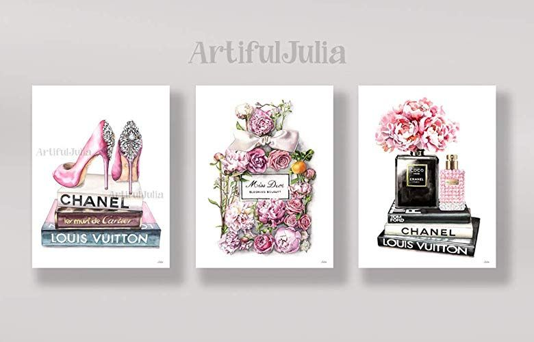 Amazon Com Pink Chanel Art Print Of Watercolor Painting A Set Of 3 Prints No Frame 5 X 7 8 X 10 9 X Chanel Art Print Fashion Wall Art Artwork Prints