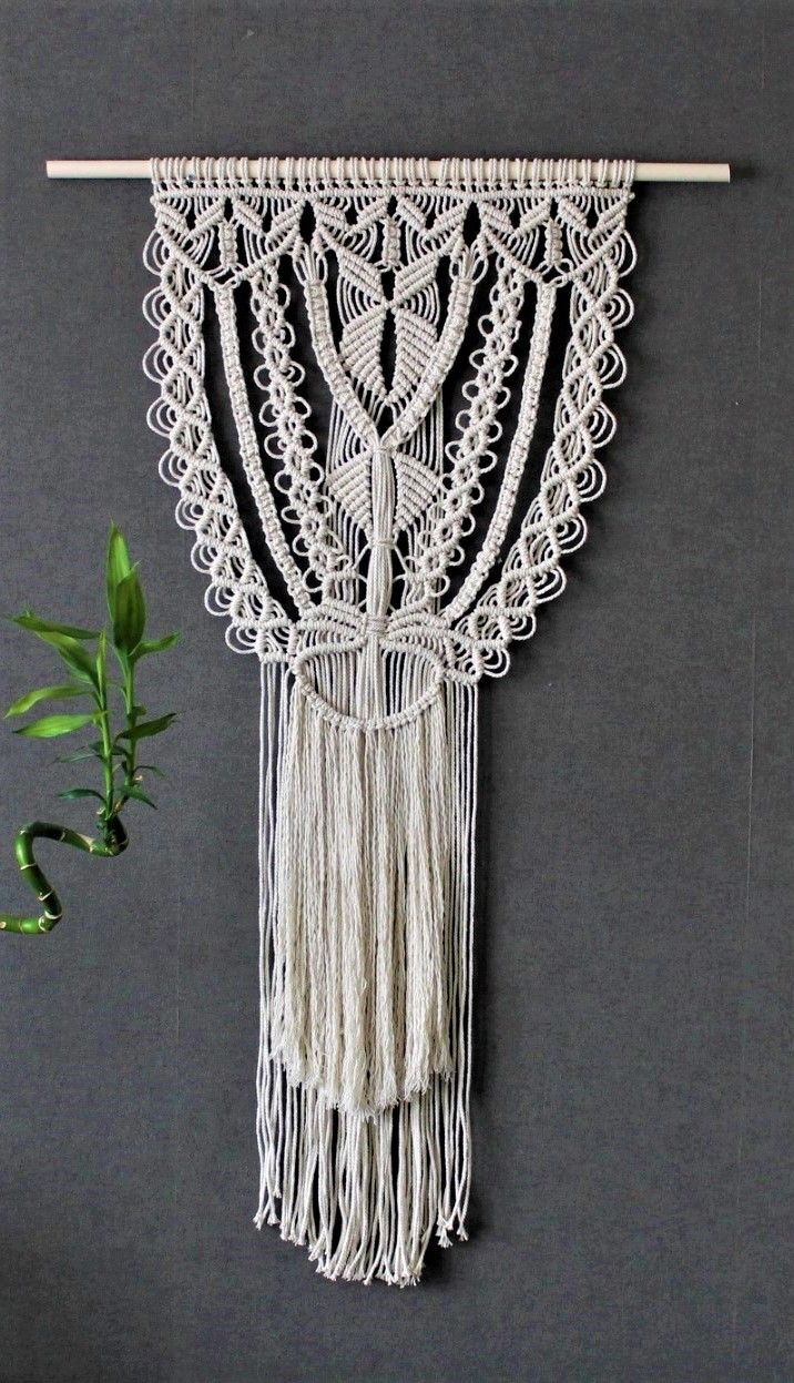 Macrame Wall Hanging On Bamboo Dowel Giant Bohemian