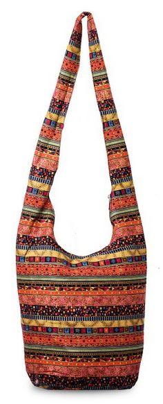 17d6b8ea6854 Hippie Crossbody Bag Thai Top Zip Hobo Sling Bag Handmade Hipster ...