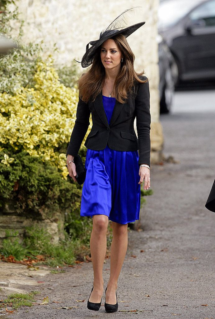 f1565bd4d8078 Kate looked pretty in a fabulous fascinator, royal blue dress, and black  blazer.