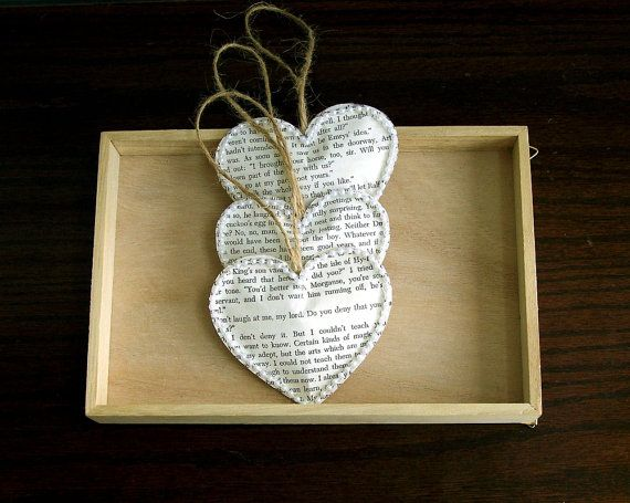 vintage book paper heart ornaments 100 hearts vintage wedding decoration christmas wedding rustic wedding decoration book page ornaments