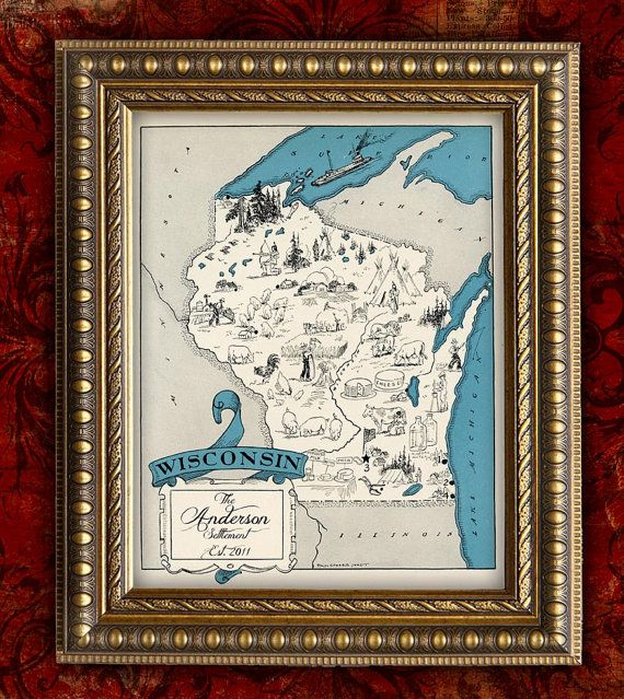 Custom MAP Art Print WISCONSIN Vintage Retro Personalized